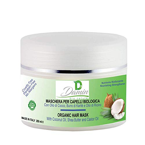 Damin Bio Nature   Maschera per Capelli Biologica con Olio di Cocco Ricino e Burro di karité - Rinforzante Nutriente 250ml Uomo e Donna