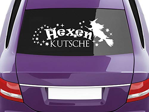 GRAZDesign Heckscheibenaufkleber für Frauen, Autoaufkleber Hexenbesen, Aufkleber Heckscheibe Hexenkutsche / 24x70cm / 063 lindgrün