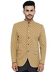 SHOWOFF Mens Cotton Full Sleeves Slim Fit Printed Khaki Blazers