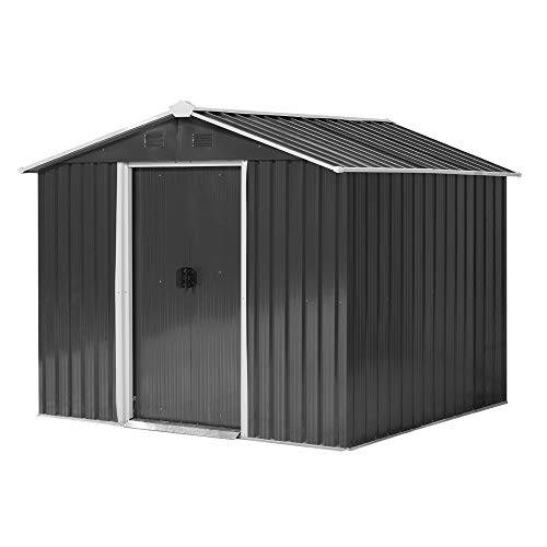 Outsunny 8 x 6ft Outdoor Garden Roofed Metal Storage Shed Tool Box with Ventilation & Sliding Doors, Grey