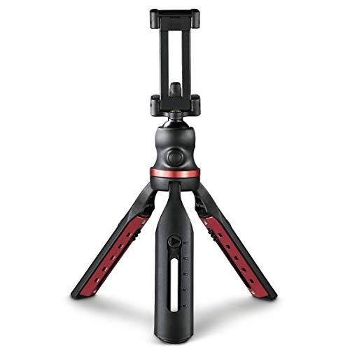 Hama Stativ für Smartphone und Kamera (Kamerastativ mit Handyhalterung, Reisestativ mit 3D-Kugelkopf, Fotostativ für iPhone, Samsung, DSLR, Spiegelreflexkamera) schwarz