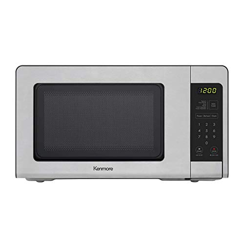 Kenmore 70723 0.7 cu. ft Compact 700 Watts 10 Power Settings, 6 Heating Presets, Removable Turntable, ADA Compliant Small Countertop Microwave, Stainless Steel