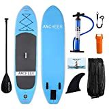 ANCHEER Inflatable Stand Up Paddle Board, Inflatable SUP Board, iSUP Package W/All Free Premium Accessories & Backpack,Super Wide Non-Slip Deck, Bottom Fin, Paddle, Leash, Pump, Youth & Adult