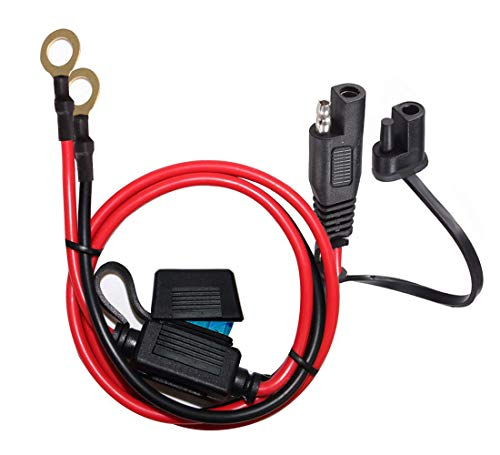 YETOR SAE to O Ring Terminal Harness, with 15A Protection Fuse for Safety, 2-Pin Quick Disconnect Plug,SAE Battery Extension Cable with 2FT 10AWG for Motorcycle Cars. (60CM)