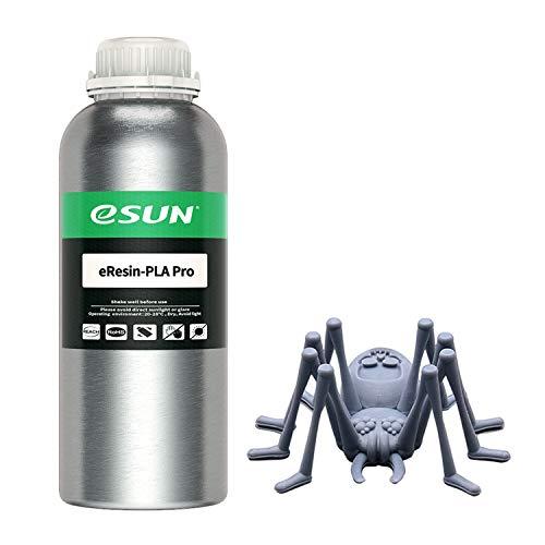 eSUN Plant-Based Pro Resina Rápida para Impresora 3D de Pantalla Monocromática Curado UV Resina PLA Biodegradable de Alta Precisión Resina de Fotopolímero Líquida de Impresión 3D, 1000g Gris