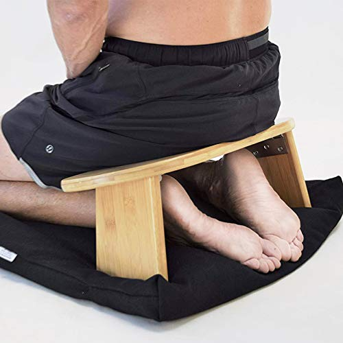 Kneeling Meditation Bench with Foldable Bamboo Meditation Bench Ben, Perfect Kneeling Pall Ergonomic...
