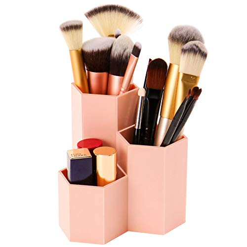 Weiai Makeup Brush Holder Organizer, 3 Slots Pink Cosmetic Brushes Solution for Desk, Dresser, Countertop