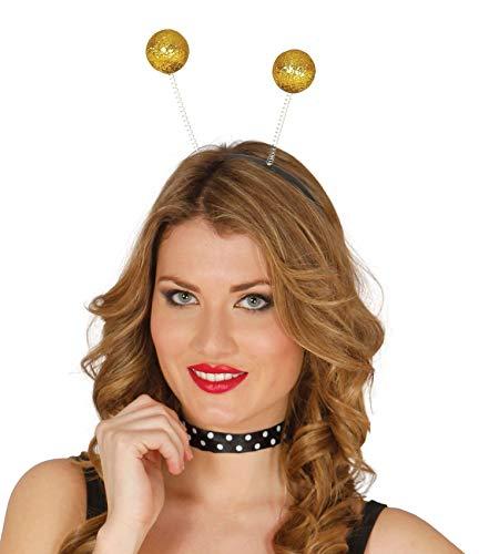 shoperama Haarreif Glitzerkugel Gold Antennen Haarreifen 80er Alien Biene Planet Kopfbügel Kostüm-Zubehör