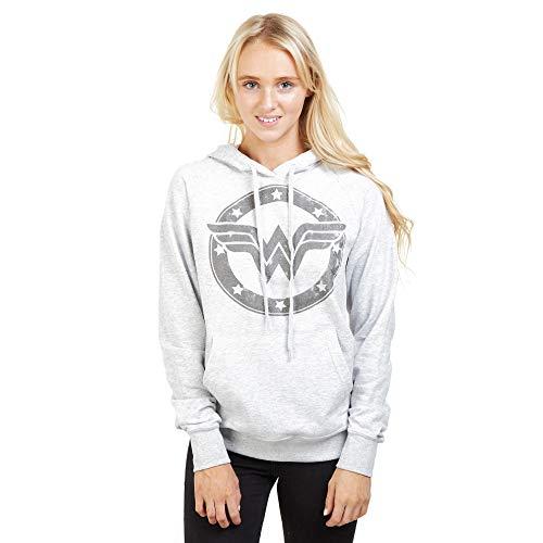DC Comics Wonder Woman Metallic Logo Hoodie Sudadera con Capucha, Gris, XL para Mujer