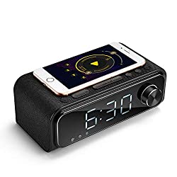 Bluetooth Speaker Alarm Clock with QI Wireless Charger, FM Radio, Bedside Alarm Clocks for Room Nightstand, Stereo Sound Bluetooth Speaker with Microphone, Dimmable LED Display for iPhone Samsung