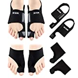 Bunion Corrector & Bunion Relief Protector Sleeves Kit - 4 Pieces Bunion Splints Big Toe Straightener for Hallux Valgus Aid Surgery (Black +Black, L (Women Size 7.5-11 / Men Size 6.5-10))