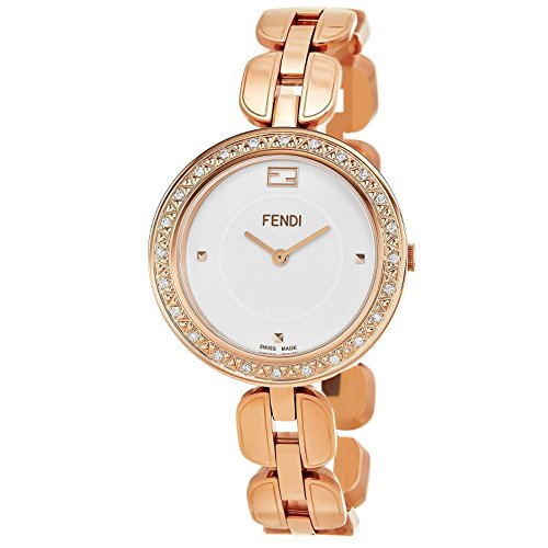 Fendi My Way Womens-large White Face Rose Gold-Plated Stainless Steel Bracelet Swiss Quartz Watch With Removable White Fur F351534000B0