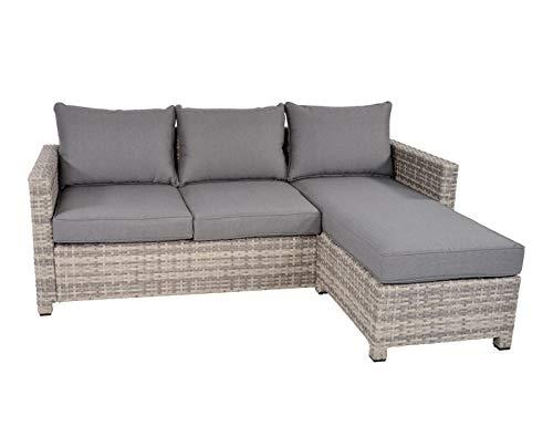 lifestyle4living Loungemöbel Eckbank (Premium) aus Polyrattan, grau, wetterfest | Garten Lounge Bank mit Alumiumgestell für 4 Personen
