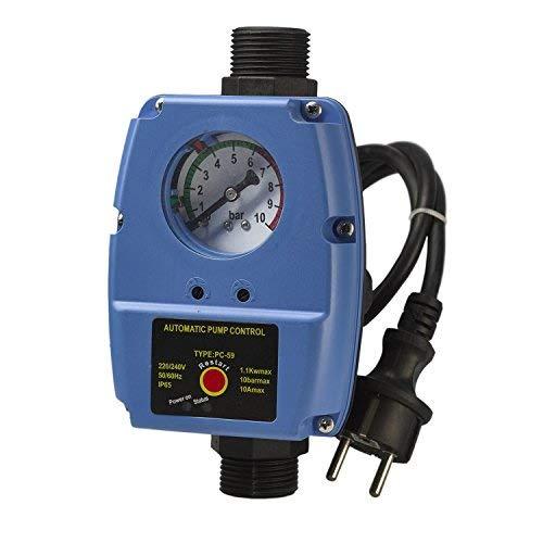 Pumpensteuerung Druckschalter mit Manometer Druckwächter einstelbar 6-2 Automatic-Controller Durchflusswächter verkabelt für Hauswasserwerk Pumpe Brunnenpumpe Kreiselpumpe Tauchpumpe Tiefbrunnenpumpe