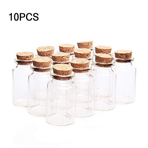 knowing 10 Stücke 30mm x 50mm Mini Glasfläschchen mit Korkverschluss, 20ml Leere Probe Glasflasche Gläser, Mini Fläschchen mit Korken (Transparent)