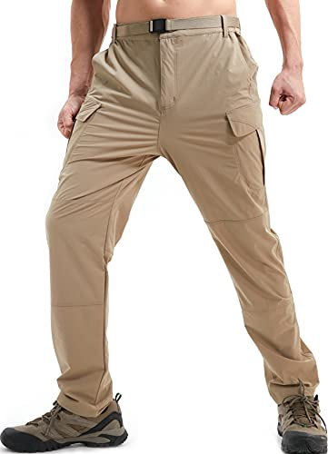 DAFENP Pantalones de Trabajo Trekking Hombre Elasticos Pantalones Cargo Montaña Senderismo Alpinismo Ligero Secado Rápido Transpirable Aire Libre KZ511M-DarkKhaki-M