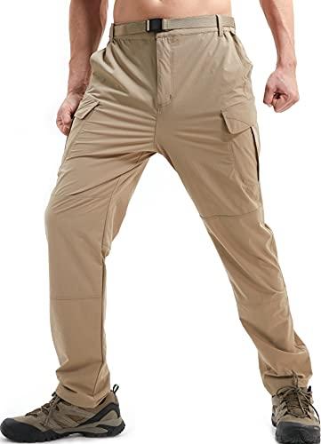 DAFENP Pantaloni da Lavoro Trekking Uomo Elastico Pantaloni Cargo Uomo Estivi Pantaloni Montagna Leggero Traspirante Asciugatura Rapida All'aperto KZ511M-DarkKhaki-M