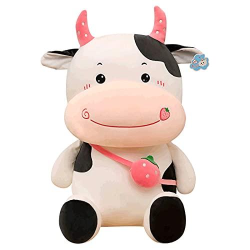 CACAIMAO Zaino Rosa Cute Cow Peluche Cute Bambini Cuscino Vitello Bambola Decorazione per La Casa Bambini Bambola Regalo Creativo per Adulti 33cm in Height