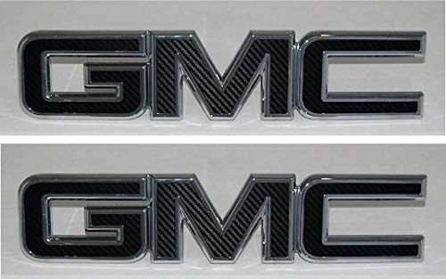 Shop Vinyl Design GMC Front and Rear Emblem Overlay Kit Yukon, Sierra, Denali, Acadia, Terrain 3M Black Carbon Fiber - 2 Kits