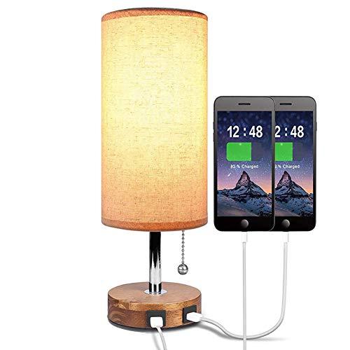 SOFIL Nachttischlampe,USB,Moderne Tischlampe aus Massivholz mit 2 USB-Anschlüssen und Zugschalter,Stoffschirm beige Schreibtischlampe für Schlafzimmer oder Büro