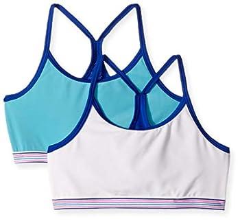Hanes Big Girls  Comfort Flex Fit Seamless Thin Strap Racerback 2-Pack Bright Blue Wat Large