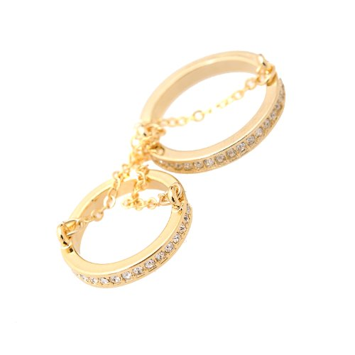 chelseachicNYC Crystal Double Layer Chain Knuckle Ring (Gold)