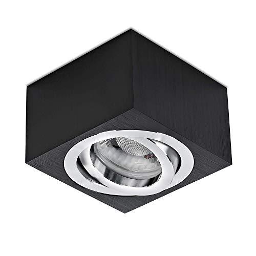 lambado® Premium LED Aufbauleuchte flach/Deckenstrahler Set inkl. 230V 5W Spots dimmbar - dezente Aufbaustrahler/Deckenspots (eckig, schwarz, schwenkbar)
