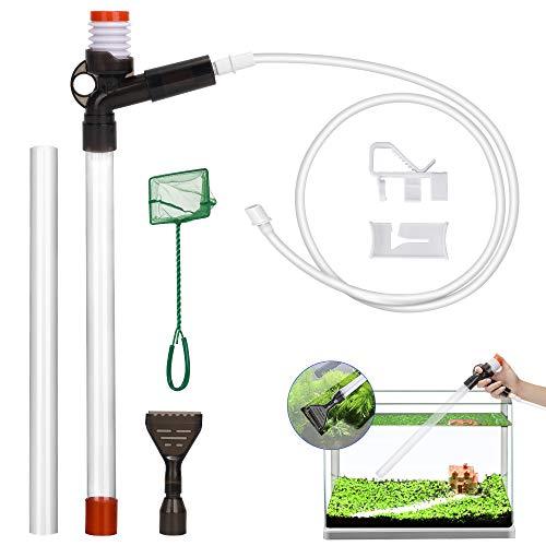Lukovee Aquarium Gravel Cleaner, Fish Tank Vacuum Cleaner Kit Tool with 2 Extendable Pipe, Glass Scraper, Water Flow Controller Clamp, (Aquarium Gravel Cleaner with Fish Net)