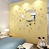 Moon and Stars Wall Stickers - 30cm Largest Moon with 66 Pieces Different Size Stars - for Baby Kid Room Decoration - Fairy Atmosphere Creation Perfect Birthday Holiday Christmas Gift