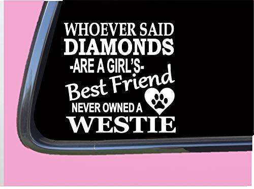 Westie Diamonds Auto-Aufkleber aus Vinyl, Rettungshund, West Highland Terrier, Auto-Aufkleber, Aufkleber für LKW, Vans, Motorrad, Fenster, Laptop, Computer, Tasse, Tasse, Flasche, Stoßstange.