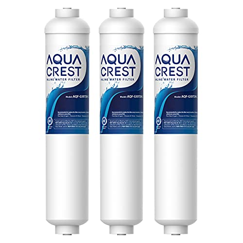 AQUA CREST Replacement GXRTDR Exterior Refrigerator Icemaker Water Filter, NSF Certified, Compatible with GE GXRTDR, Samsung DA29-10105J, Whirlpool WHKF-IMTO (Pack of 3, Package May Vary)