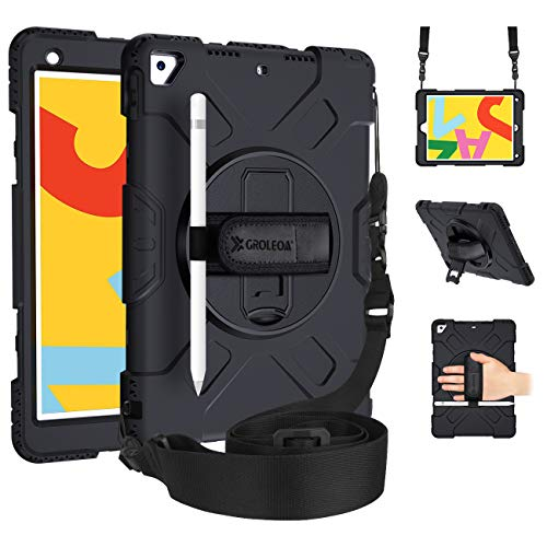 GROLEOA iPad 7th Generation Case, iPad 10.2 Case 2019 with 360 Rotating Stand Pencil Holder Hand/Shoulder Strap Tablet Protective Case for iPad 7th Gen Case 10.2'', iPad 10.5' 2019/2017 Black