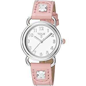 Reloj TOUS Baby Bear de acero con correa de piel rosa Ref:50035018, Niña
