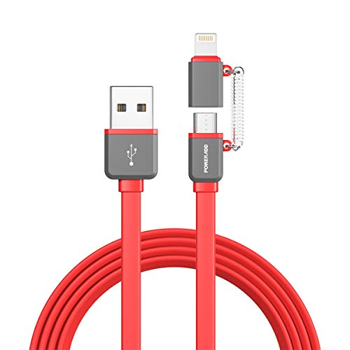 POWERADD [ MFi Certified ] 2 in 1 Charging Cable 3.3ft Lightning/ Micro USB Cable & Data Sync Cord for iPhone SE 11 Pro Max Xs XR 8 7 6S 5 iPad iPod iTouch & Samsung Galaxy S7 edge S6 LG Pixel Oneplus and Other Android Phones Tablets with Micro USB Port - Red
