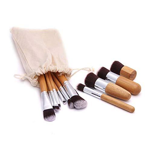 Maquillage bambou naturel pinceaux professionnels 11pcs pinceaux de maquillage poudre Correcteurs Eyeshadows Blending de maquillage de brosse avec linge Sac cosmétique