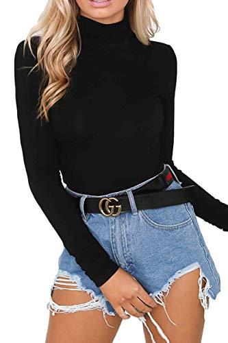 Almaree Long Sleeve Bodysuit for Women Turtleneck Basic Cotton Leotard Black M