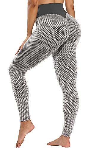 TRENDOUX High Waisted Leggings for Women Butt Lift Textured, Scrunched Booty Liftlyup Textured Yoga Pants - Gray M