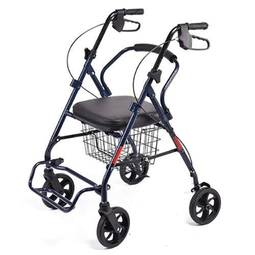 JJZXPJ Walker met zitting, hand-cart-met draagbare opvouwbare afneembare Rolling Walker Verstelbare Compact Aluminium Loop Remmen Vouwwagen Winkelwagen