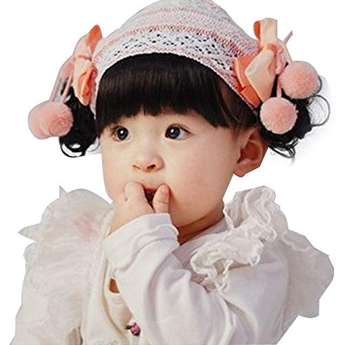 Baby Girl Floral Bow Headband Elegant Hairband Lace Wig Hair Accessories forBaby Girls Toddlers Infant Newborns (B1, Head circumference 38-48 CM)