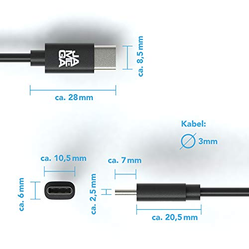 JAMEGA – 0,5m USB Typ C Kabel Schwarz | 3A USB C Ladekabel und Datenkabel Fast Charge Snyc schnellladekabel kompatibel mit Samsung Galaxy S10/S9/S8+, Sony Xperia XZ, Huawei P30/P20