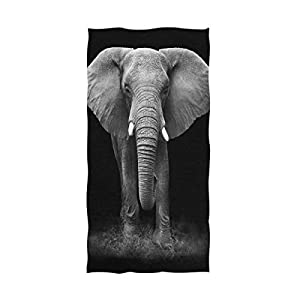 "Naanle 3D Lifelike Cool Elephant Print Soft Highly Absorbent Large Decorative Hand Towels Multipurpose for Bathroom, Hotel, Gym and Spa (16"" x 30"",Black)"