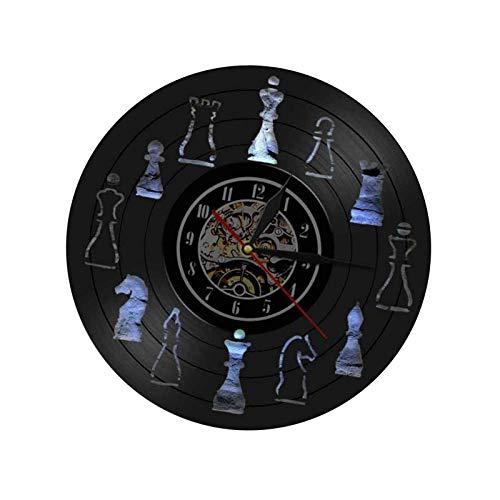 JXJ Reloj de Pared de Tablero de ajedrez Hecho de Vinilo, Reloj de Pared de ajedrez, Reloj de Vinilo, Reloj Decorativo, Reloj Vintage para familias, decoración de habitación, Regalo artístico, d