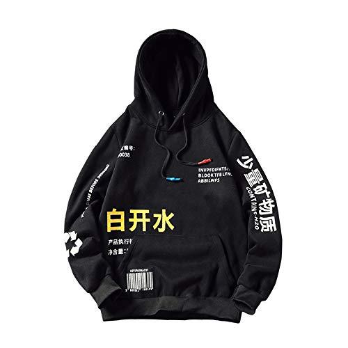 WANLN para Hombre Sudaderas Fleece Moda Harajuku Japonesa Streetwear Hip Hop de la Camiseta de los Hombres de Las Mujeres Amarillas Hoodie,Black,M