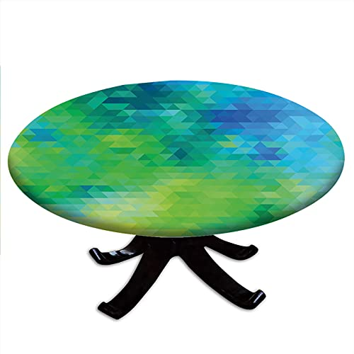 Round Tablecloth with Elastic Edges, Geometric Abstract Pattern with Triangles Ombre Inspired, Green and Blue Design Fits Tables 48' - 52' Diameter Turquoise Lime Green Yellow