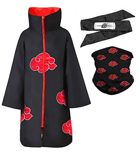 Anime Naruto Long Robe Akatsuki Cloak Halloween Ninja Cosplay Costume Uniform with Naruto Face Mask and Akatsuki Headband (X-Small) Black