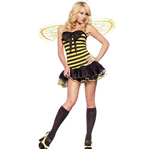 thematys Bee kostuum bij 3-delige kostuumset voor dames - vleugels, haarband & jurk perfect voor carnaval & cosplay - een maat 160-175cm