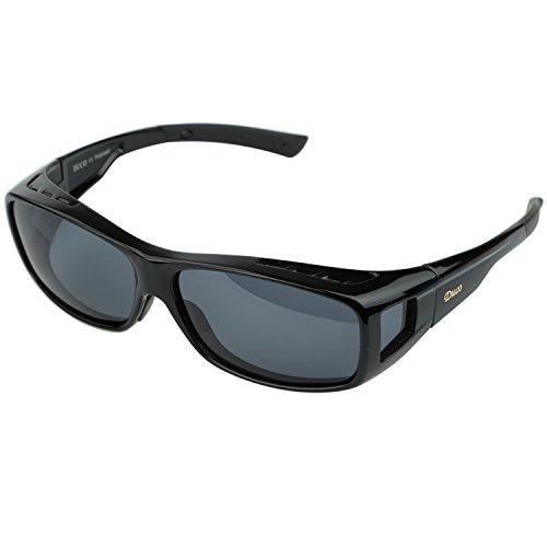 Duco Herren und Damen Sonnenbrillen Polarisiert Unisex Brille Überbrille für Brillenträger Fit-over Polbrille 8953 L - Schwarz, Grau
