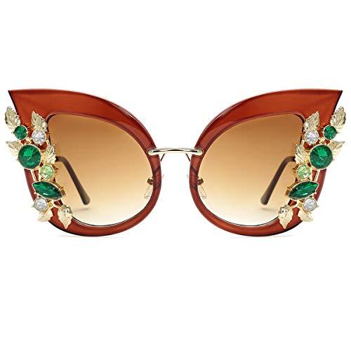 Slocyclub - Gafas de sol para mujer, diseño elegante con diamantes, Marrón (marrón), X-Large