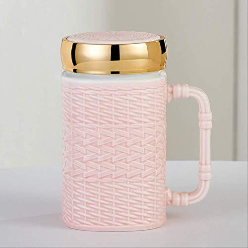 ZSWFGG Rattan-Webart-reizende Tasse mit halten warme Abdeckungs-Thermos-Keramik-Liebhaber- Kaffeetasse -Geschenk- Rosa-Tasse