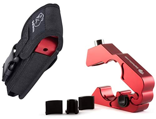 BigPantha #1 Motorcycle Lock - A Grip / Throttle / Brake / Handlebar Lock to Secure Your Bike, Scooter, Moped or ATV in Under 5 Seconds! (Red). BONUS...